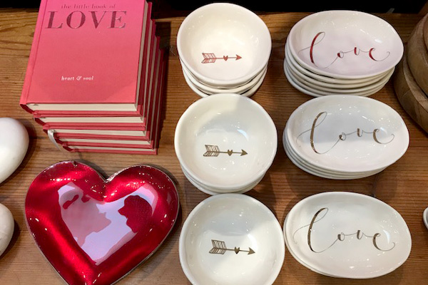 Creative Co-op a  Love  soap dish $10.00 and the  Heart and Arrow  soap dish $8.00 Enameled Ruby Heart Dish by Mary Jurek $50.00