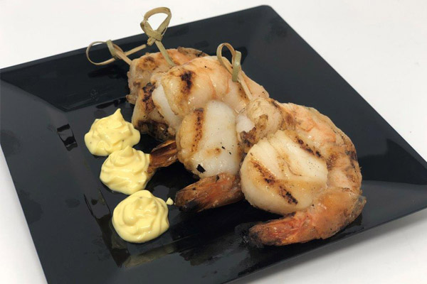 Grilled Scallop & Prawn Skewers