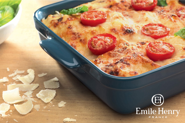 Emile Henry baking dish with tomatoes