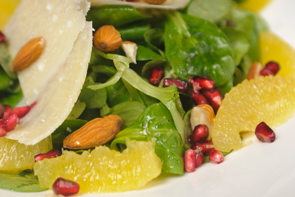 Pomegranate & Orange Salad with Mint, Baby Spinach, Frisee & Radicchio