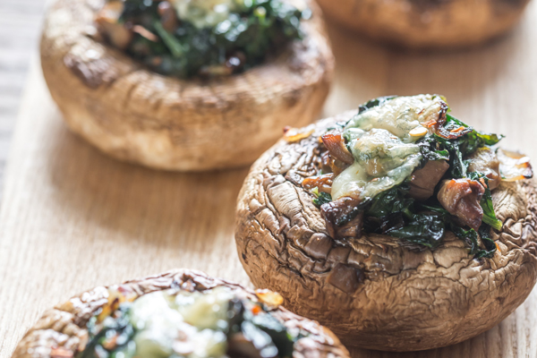 Stuffed Mushrooms with Spinach & Artichokes