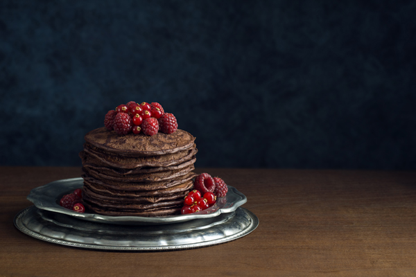 Stacked Chocolate Crepe Cake with Raspberry Jam