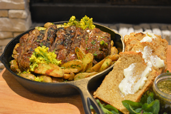 Roasted Lamb Shoulder with Meyer Lemon Potatoes and Mint Sauce